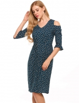 Dark green V-Neck Cold Shoulder Floral Slim Fit Dress