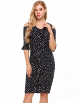 Navy blue V-Neck Cold Shoulder Floral Slim Fit Dress