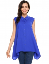 Blue Turn-down Collar A-Line Asymmetrical Hem Tank Top