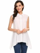 White Turn-down Collar A-Line Asymmetrical Hem Tank Top