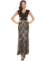 Gold V-Neck V Back Cut Out Print Tank Long Maxi Party Dress