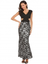 Silver V-Neck V Back Cut Out Print Tank Long Maxi Party Dress