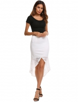 White High Waist Back Zipper Asymmetrical Fishtail Hem Skirt