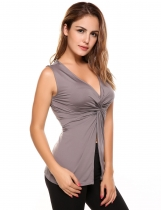 Dark gray Twist Knot Front Solid Sleeveless V-Neck Slim Tank Top