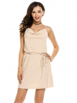 Light pink Cowl Neck Backless Solid Dress with Belt