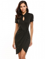 Black Short Sleeve Keyhole Faux Wrap Split Bodycon Dress