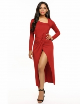 Rojo Mujeres Asymmetrical Collar de manga larga Recortar Twist Split Party Maxi Dress