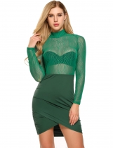 Green Stand Collar Mesh Patchwork Bodycon Dress