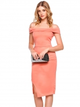Melon d'eau rouge Femmes Spaghetti Strap Cold Shoulder Drapé Split Bodycon Work Party Pencil Dress