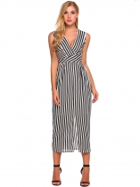 White Surplice Neck Striped Split Front Dress with Pocket