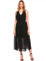 Noir Halter Bandoulière Backless Split Solid Evening Maxi Robe en mousseline de soie