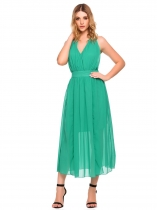 Green Backless Bandage Split Maxi Chiffon Dress