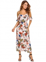 White Cold Shoulder Ruffles Floral Maxi Dress