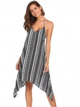 Black Halter Backless Print Irregular Hem Dress