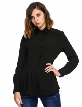 Black Womens Casual Long Sleeve Slim Pleated Hem Tunic Solid Button Down Shirt
