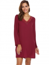 Wine red Bell Long Sleeve Lace Patchwork Shift Dress