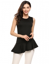 Black O-Neck Peplum Sleeveless Solid Tank Tops