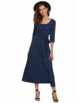 Navy blue 3/4 Sleeve Maxi Solid Split Hem Dress