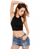 Black Halter Sleeveless Backless Solid Elastic Crop Top