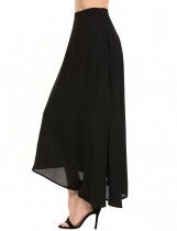 Black Solid Asymmetrical Hem Swing Chiffon Skirt