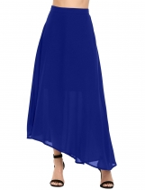 Blue Solid Asymmetrical Hem Swing Chiffon Skirt
