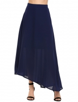 Navy blue Solid Asymmetrical Hem Swing Chiffon Skirt