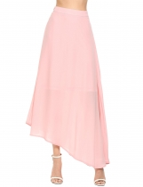 Pink Solid Asymmetrical Hem Swing Chiffon Skirt
