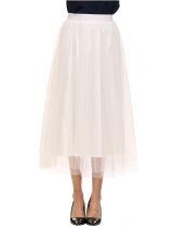 White Elastic Waist A-Line Mesh Tulle Solid Midi Skirts