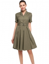 Vojenská zelená New Women Casual Turn-down Collar Short Sleeve Solid A-Line Pleated Hem Dress
