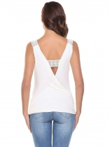 White Square Neck Sleeveless Lace Patchwork Backless Tank Tops