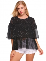 Black O-Neck Half Sleeve Dot Ruffle Tiered Chiffon Blouse