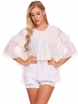White O-Neck Half Sleeve Dot Ruffle Tiered Chiffon Blouse