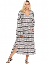 White Plus Sizes Loose Flare Sleeve Print Slit Loose Dress