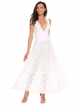 White Double V-neck Sleeveless Lace Maxi Evening Long Dress