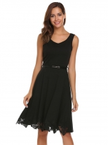 Black Sleeveless Lace Patchwork Dress with Belt