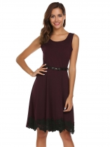 Wine red Sleeveless Lace Patchwork Dress with Belt