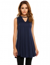 Navy blue Sleeveless Solid Back Hollow Out V Neck Tops