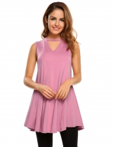 Pastel pink Sleeveless Solid Back Hollow Out V Neck Tops