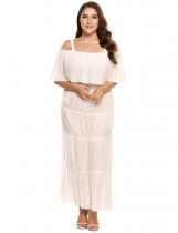 White Plus Size Spaghetti Strap Half Sleeve Solid Ruffled Dress