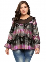 Black Purple Ruffle Plus Size Long Bell Sleeve Pullover Multicolor Blouse