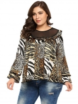 Leopard Women Plus Sizes Blusa de manga comprida com mangas leopardo Ruffled