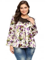 Purple Flower Ruffle Plus Size Long Bell Sleeve Pullover Multicolor Blouse