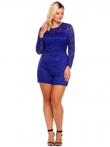 Blue Plus Sizes Long Sleeve Lace Romper Playsuit