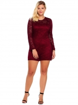 Wine red Plus Sizes Long Sleeve Lace Romper Playsuit