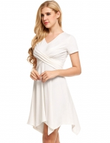 White Solid Ruched V Neck Asymmetrical Hem Dress