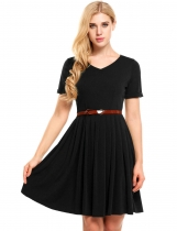 Black Solid V-Neck Belted Vintage Dress