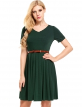 Dark green Solid V-Neck Belted Vintage Dress