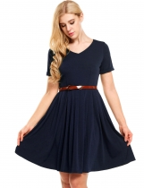 Navy blue Solid V-Neck Belted Vintage Dress