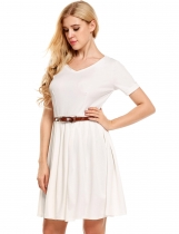 White Solid V-Neck Belted Vintage Dress