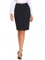 Dark blue High Waist Solid Slim Pencil Skirt with Lining